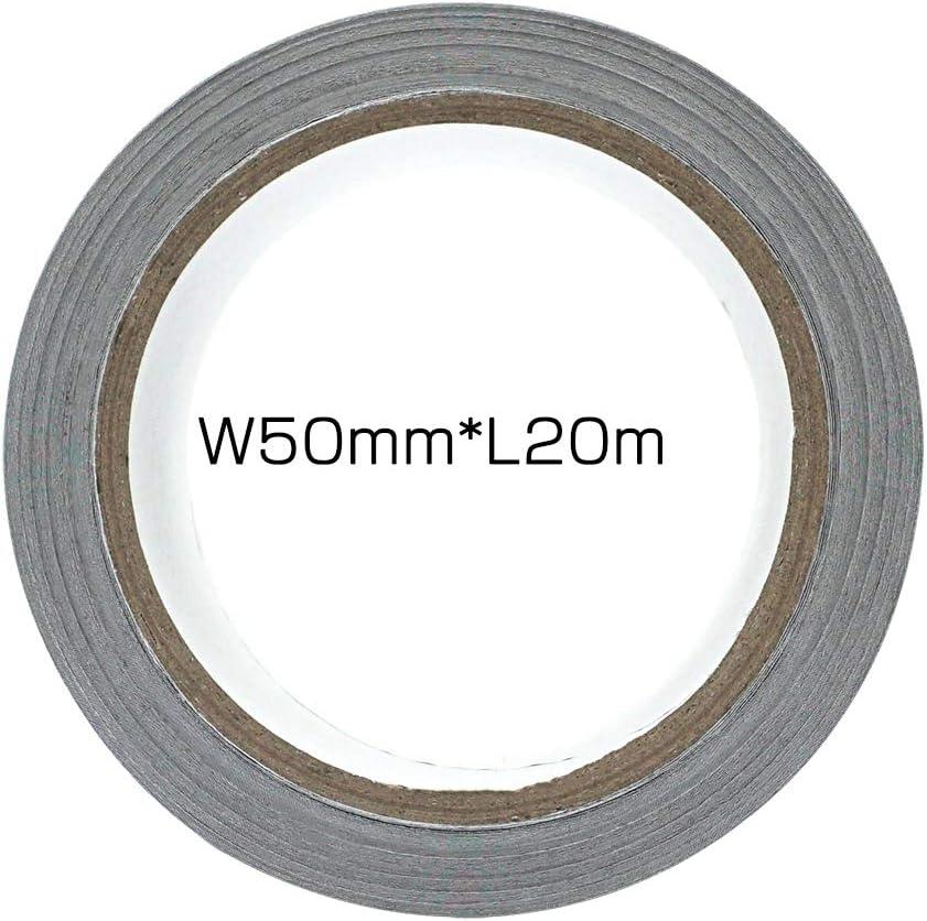 50 mm de ancho 20 m de largo color negro Cinta adhesiva de aluminio para protecci/ón t/érmica Akuoly