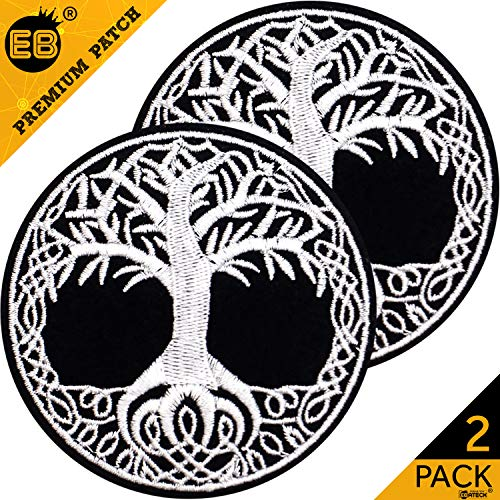 2 Pack Norse Yggdrasil Patch, Tree of Life Embroidered Badge Iron On Patches Large Size