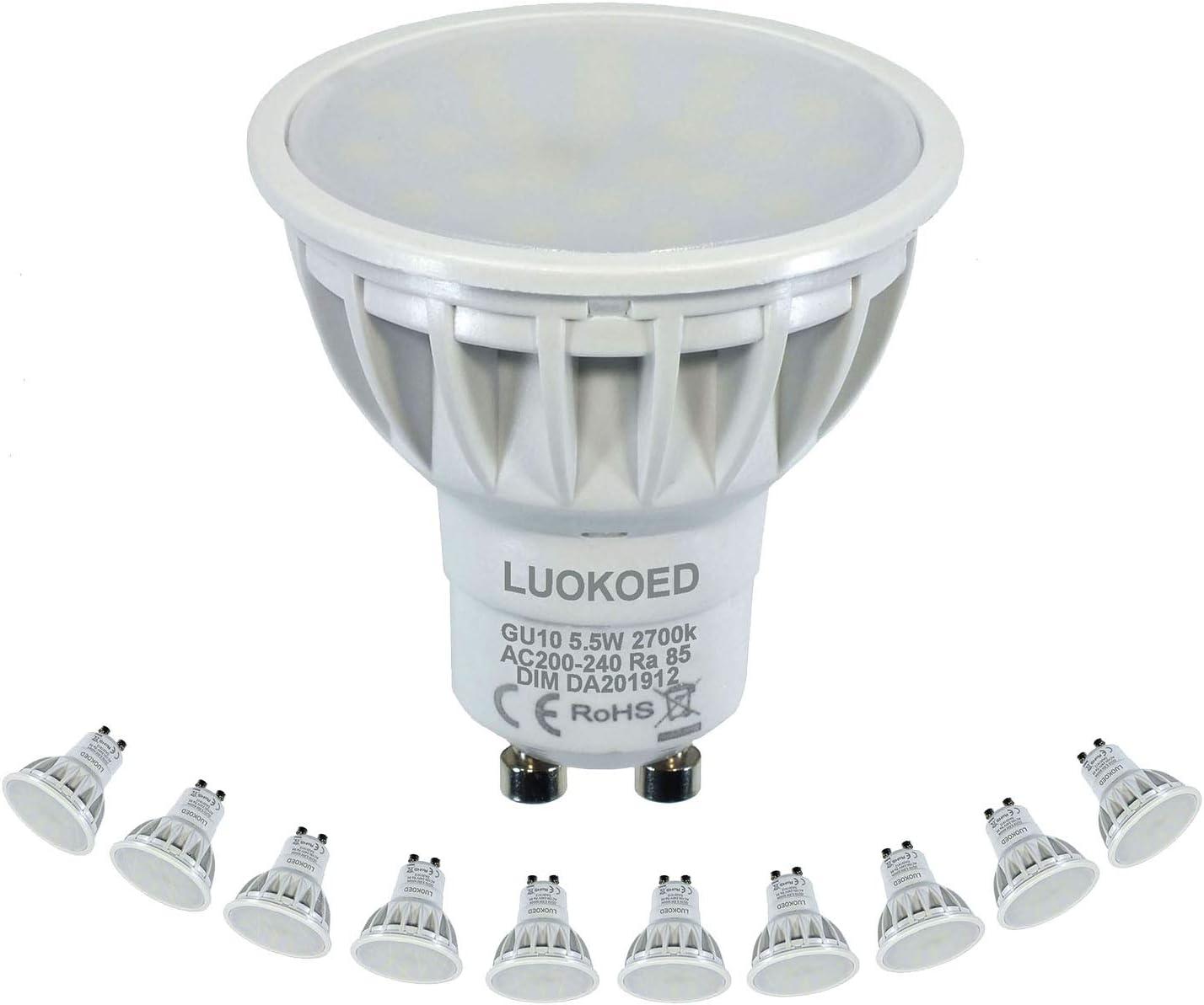 Bombilla Gu10 LED Foco 500-550lm Equivalente a 50W Luz Blanca Cálida 2700K Regulable LUOKOED®: Amazon.es: Iluminación