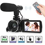 Video Camera, Full HD Camcorder 1080P Digital Camera 30FPS 3'' LCD Touch Screen Vlogging Camera for Youtobe with External Microphone and Remoter (2 batteries included)
