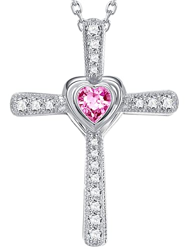 Amazon.com: Mothers Day Necklave Gifts Pink Tourmaline Love Heart God Pendant Necklace October Birthstone Jewelry Anniversary Birthday Gifts for Women Girls ...