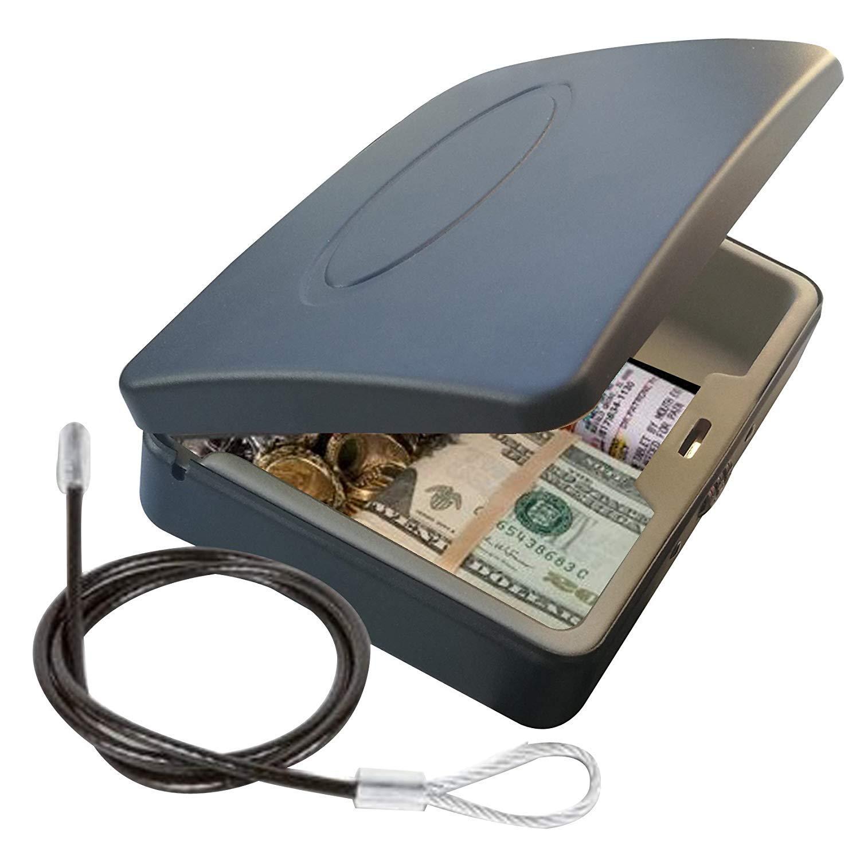 Masmartox Portable Key Storage Lock Box,Travel Lockbox Safe with Combination Lock,Black by Masmartox