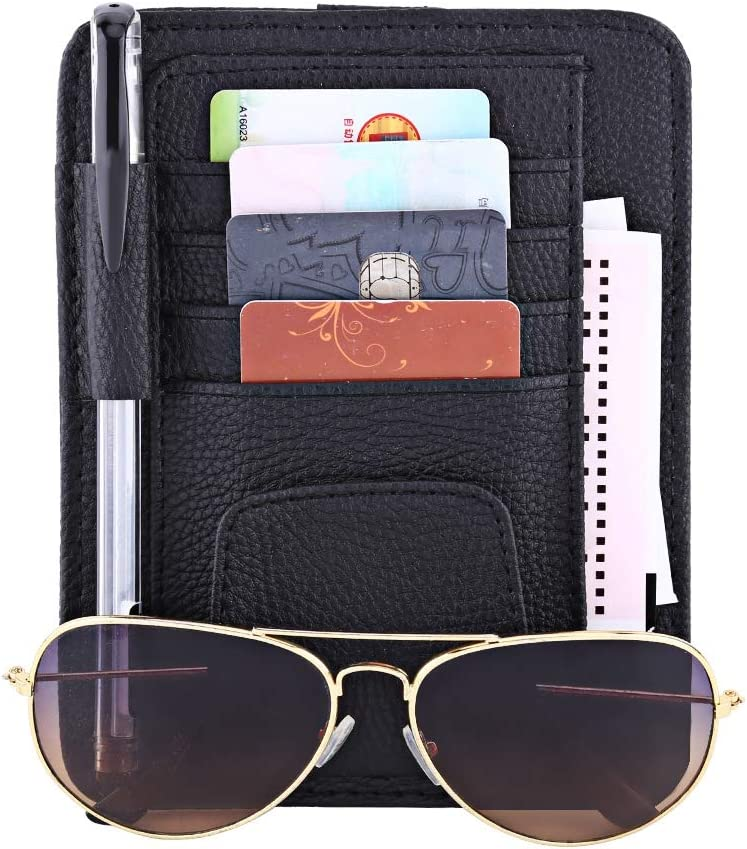 Brown Automotive Car Sun Organizer Card Storage Glass Credit Money Holder Sunglasses Clip Multi-function Glasses Pouch Bag Hanging PU Leather Visor Card Holder for Car