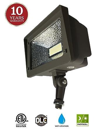 LED Flood Light, Dusk To Dawn Photocell, 180° Adjustable Knuckle,
