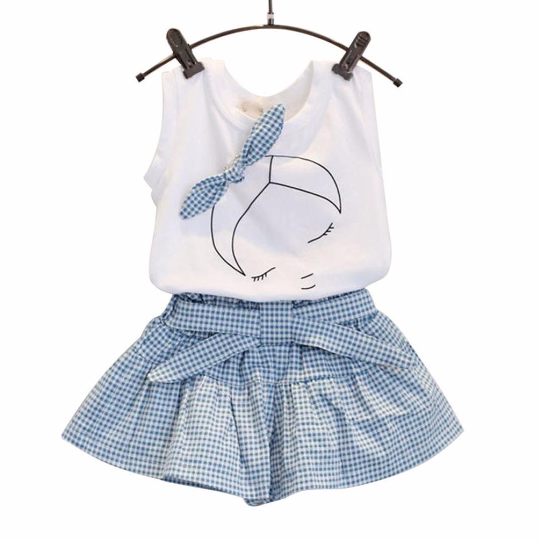 Alalaso Girls Kids Cute Bow-knot Girl Pattern Shirt Top Grid Shorts Set Clothing (90)