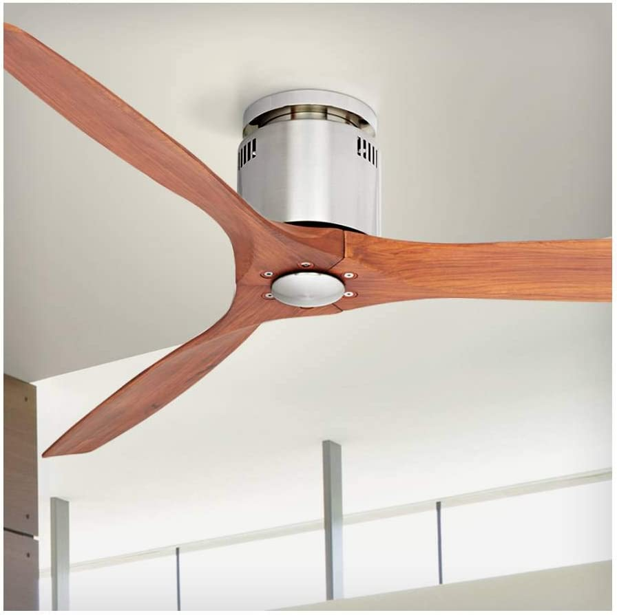 52 Windspun Modern Hugger Low Profile Ceiling Fan with Remote Brushed Nickel Carved Wood for Living Room Kitchen Bedroom Dining – Casa Vieja