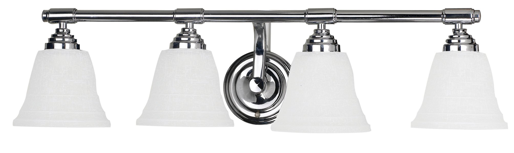 Yosemite Home Decor 5924CH 27.5-Inch 4-Light Bathroom Vanity, Chrome - Width 27.5-Inch by height 7.25-Inch by depth 7.25-Inch Requires (4) medium-based, 100-Watt incandescent bulbs (not included) Chrome frame with linen frosted glass - bathroom-lights, bathroom-fixtures-hardware, bathroom - 61sIicmoATL -