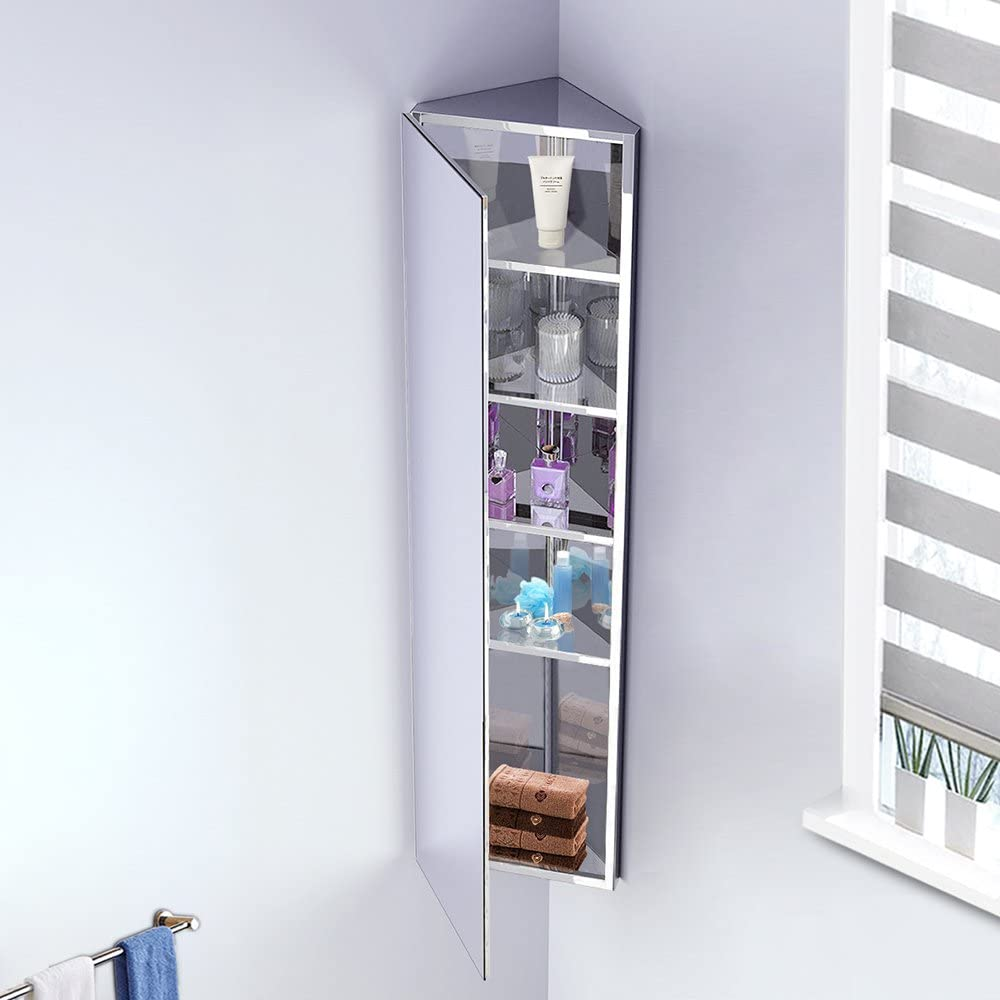 Ruication Corner Mirror Cabinets Stainless Steel Modern Bathroom Storage Unit With 5 Shelves Single Door Wall Mounte 1200 300 190mm Amazon Co Uk Kitchen Home