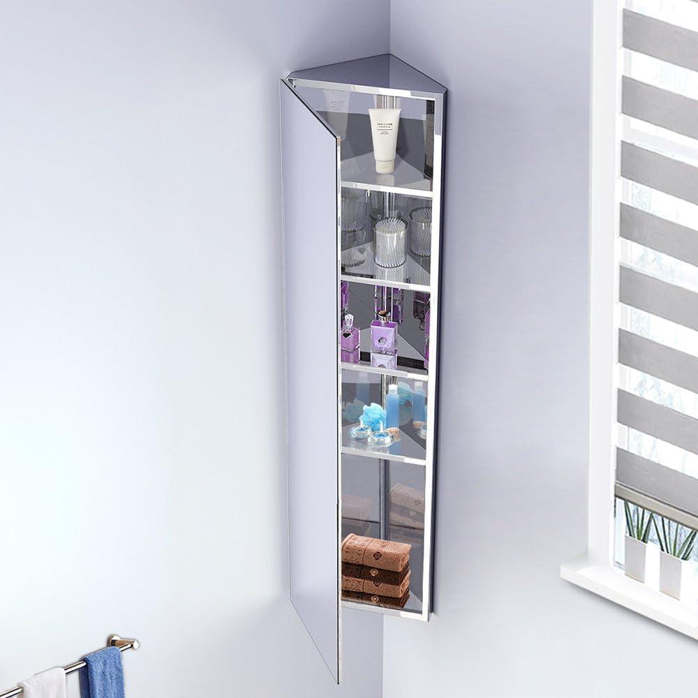 Seababyhouse Bathroom Storage Corner Cabinet Mirror Stainless Tall Steel Wall Mounted Organization Unit 5 Shelves Amazon Co Uk Kitchen Home