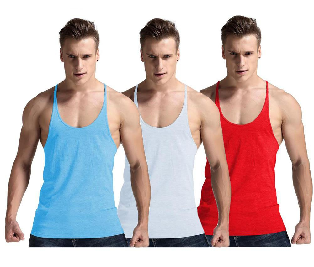 YAKER Men's Fitness Gym Tank Top Singlet Bodybuilding Stringers Sleeveless Muscle Shirt (S, 3Pack SkyBlue/White/Red)