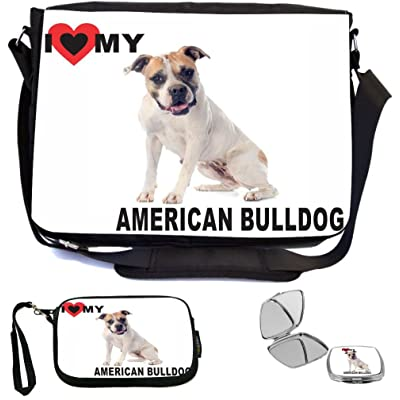 Rikki Knight I Love My Brown American Bull Dog Design COMBO Multifunction Messenger Laptop Bag - with padded insert for School or Work - includes Wristlet & Mirror