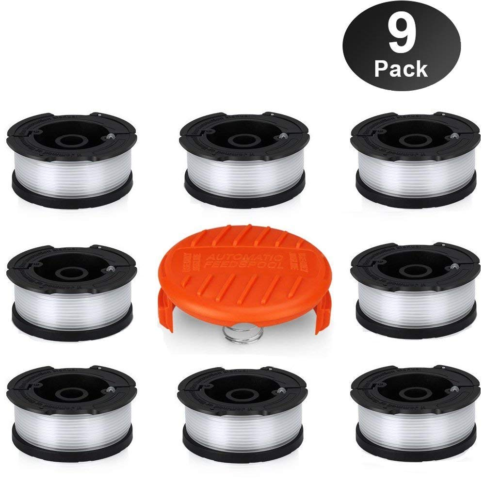 "HomeMall Autofeed Line String Trimmer Replacement Spool for Black and Decker Weed Wacker, 30ft 0.065"" Weed Eater Spool, 9 Pack (8 Replacement Spool, 1 Trimmer Cap)"