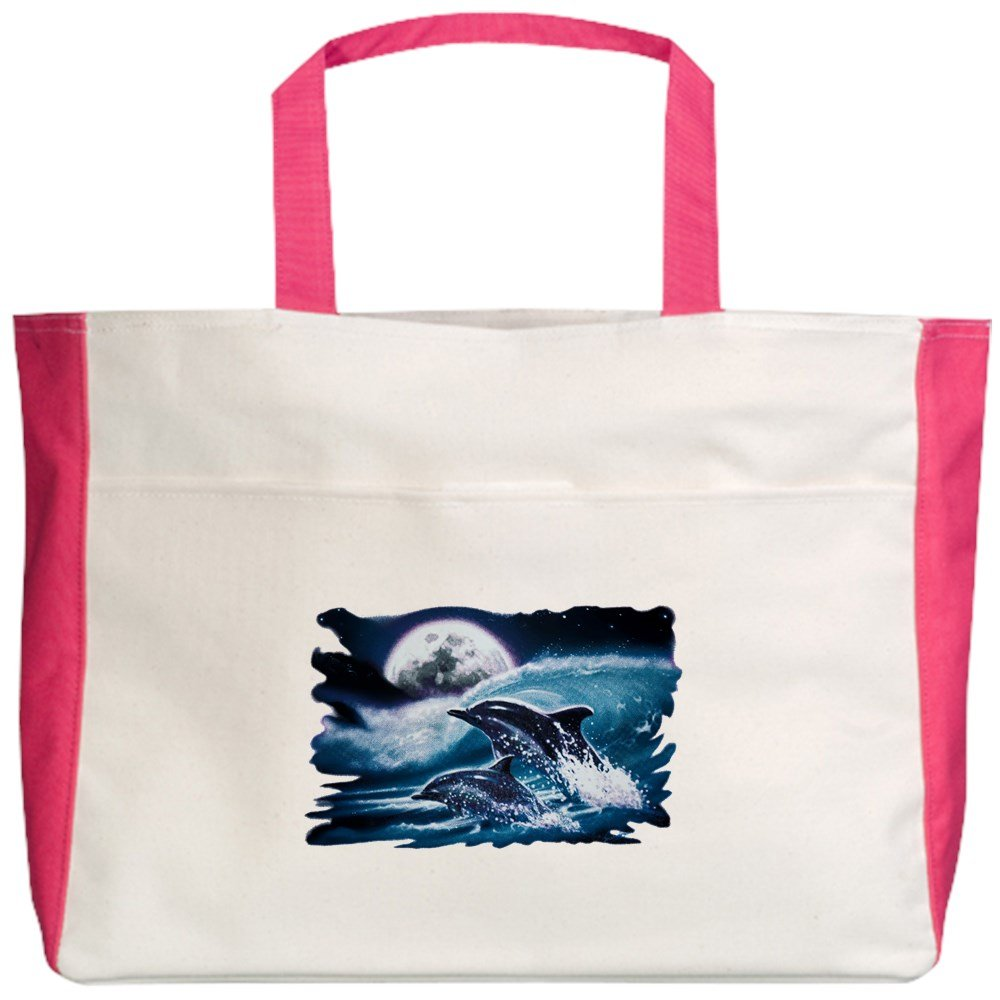 Moon Dolphins Ocean Life Royal Lion Beach Tote 2-Sided