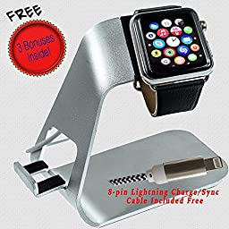 Noworriesmate Apple Watch & iPhone Charging Stand, Premium Bonus Edition (includes 8-Pin Lightning Charge & Sync Cable; Microfiber Cleaning Cloth, and Cable Butt Cable Management Clip)