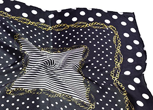 Black White Gold Spotted Printed Fine Small Square Silk Scarf by Bees Knees Fashion (Image #5)