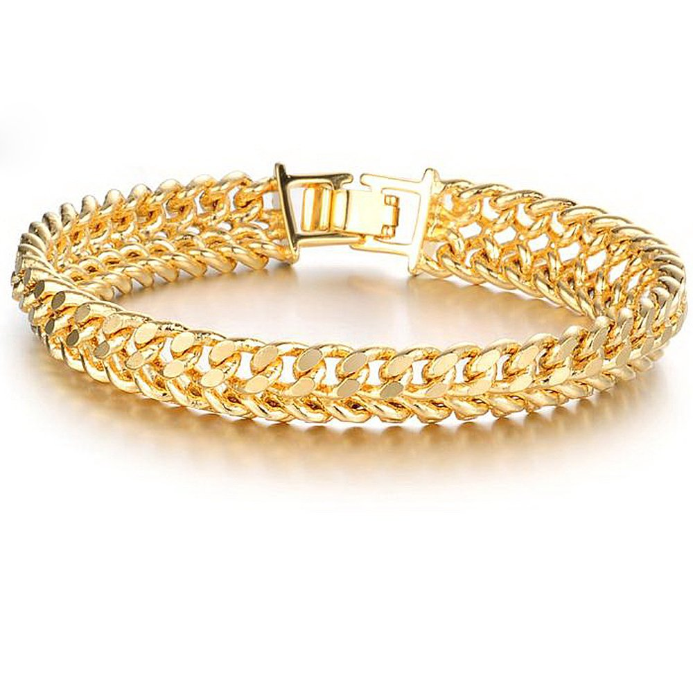 18K Gold Plated Link Bracelet Classic Carving Wrist Chain Link Bangle With 18K Stamp Men Jewelry Wide Snake Chain Necklace