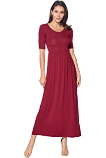 9d0a01c4ad4f 82 Days Women's Casual 3/4 Sleeve Long Maxi Dress with Elastic Waist Made in
