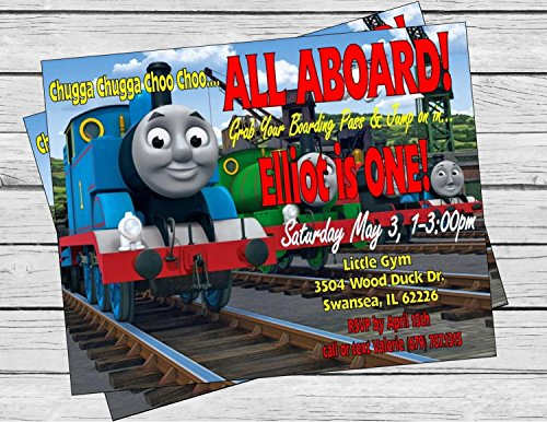 Thomas the Train Inspired Birthday Invitation - Red and Turquoise Chevron & Black and White Accents - Party Packs Available