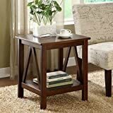 Durable Pine Wood Versatile Design Oak Finish End Table