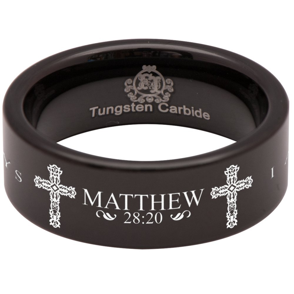 Bible Verse Wedding Band and Anniversary Ring Designed Fit for Men and Women Use Size 10.5 Friends of Irony Black Tungsten Carbide Matthew 28:20 Ring 8mm