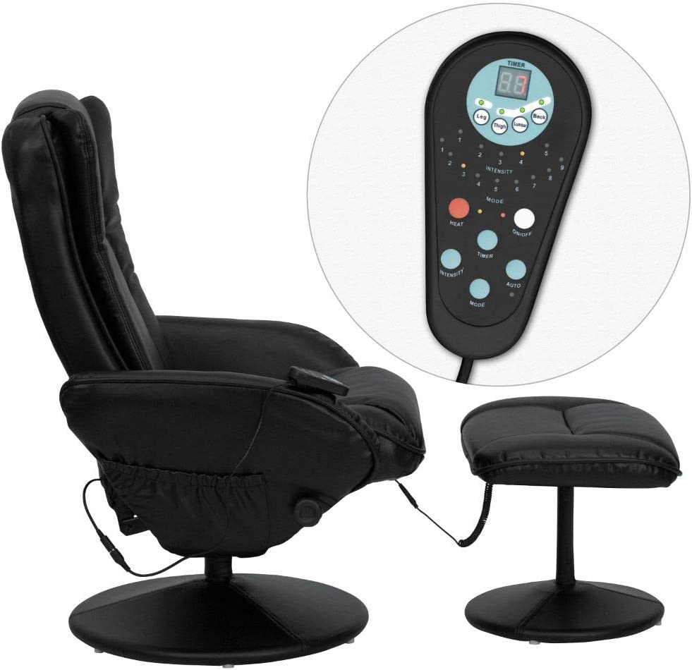 Flash Furniture Massaging Multi-Position Plush Recliner with Side Pocket and Ottoman in Black Leather