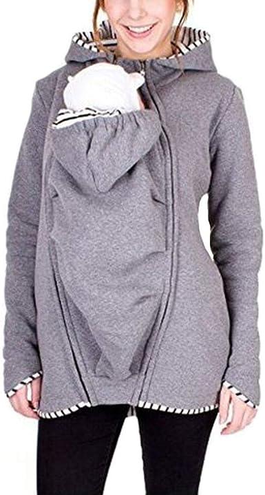 Sudadera Canguro con Capucha Mujer Camisa Casual Suéter Multifunción De Mujeres Portador de Bebé Premamá Manga Larga Sudaderas Portabebés Chaqueta ...
