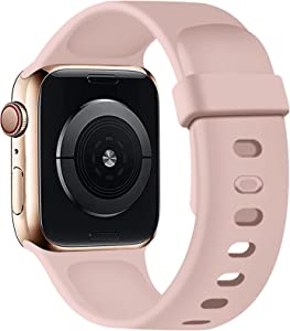 SVISVIPA Sport Bands Compatible with Apple Watch Bands 38mm 40mm, Soft Silicone Wristbands Women Men Replacement Strap for iWatch Series SE/6/5/4/3/2/1,Pink Sand