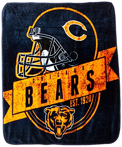 The Northwest Company Officially Licensed NFL Chicago Bears Grand Stand Plush Raschel Throw Blanket, 50