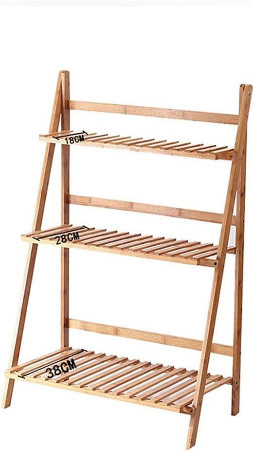 Estante plegable de bambú para plantas de 3 niveles, soporte de jardín, estante expositor, escalera para exterior/interior: Amazon.es: Jardín