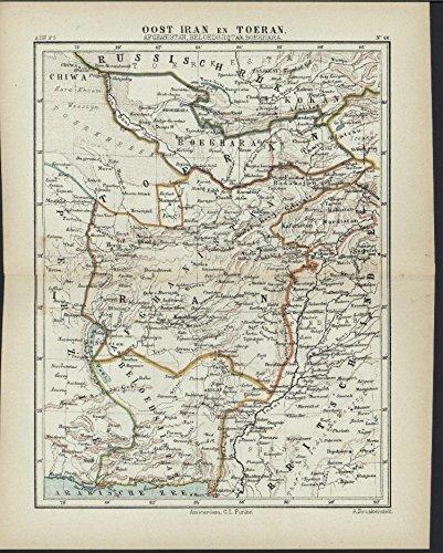 East Iran Tehran Persia 1882 antique color lithograph map (Lithograph 1882)