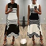 Toponly Women Sleeveless Casual Striped Dress Loose Round Neck Vestido Midi Party dresses