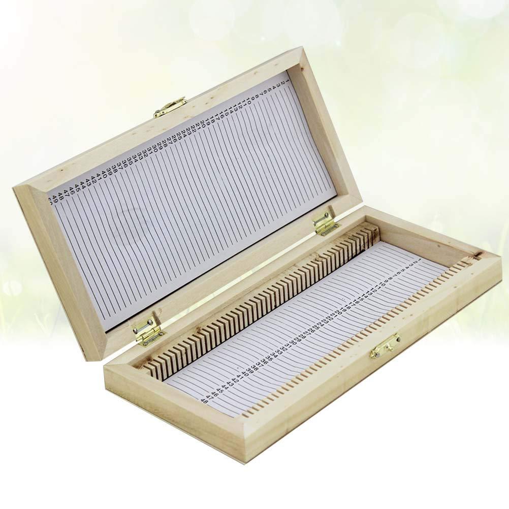 UKCOCO Scatola portaoggetti in legno Vetrino portaoggetti Vetrina 50 pezzi Slot Specchietto per vetrini