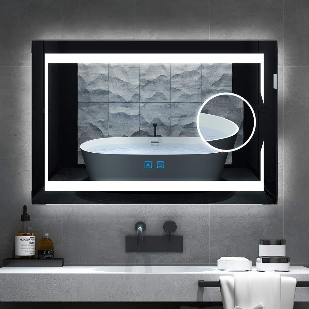 Quavikey Specchi da Bagno Illuminati fissati al Muro con Lente dIngrandimento Completo smussatore per Trucco ingrandimento 750 500 mm