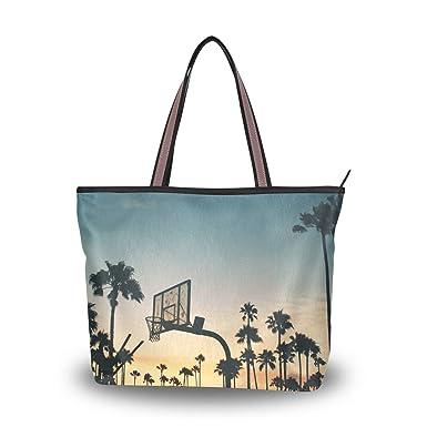 212655b0de Amazon.com: MUOOUM Summer Palm Tree Basketball Hoop Women Top Handle ...