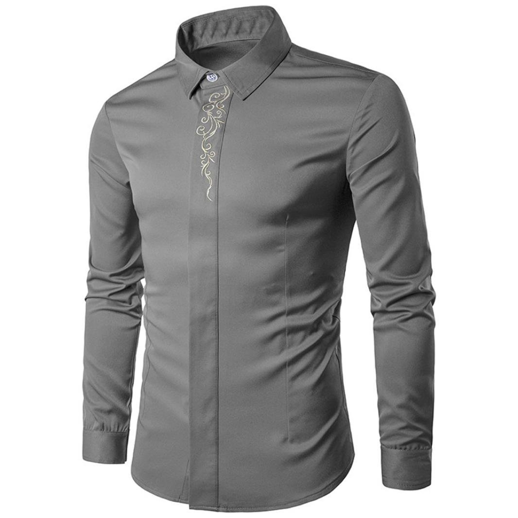 Dacawin Men Hipster Formal Button Down Shirts Casual Embroidery Slim