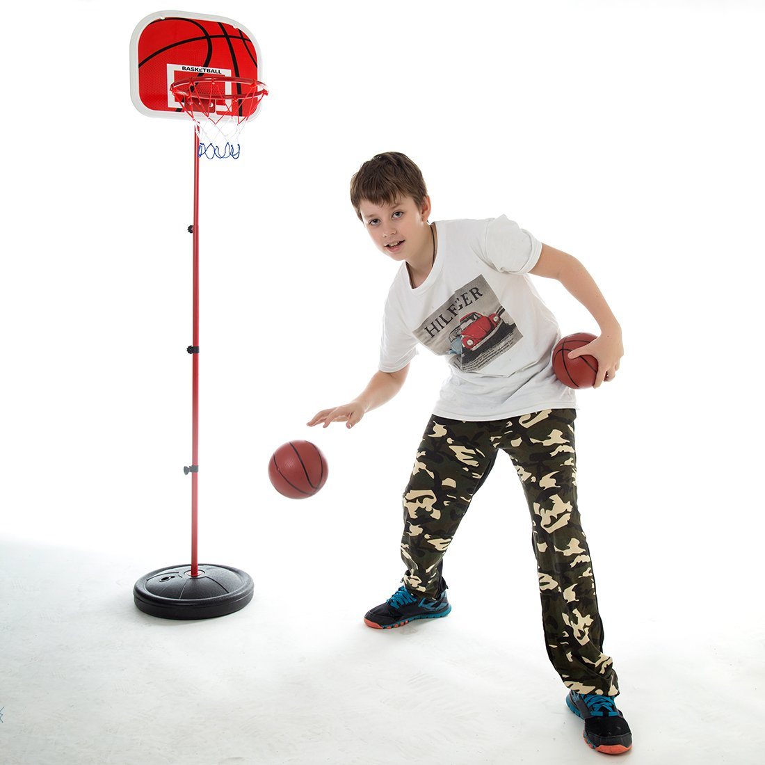 Yavso Canasta Baloncesto Infantil, 73-170cm Ajustable Aro de ...