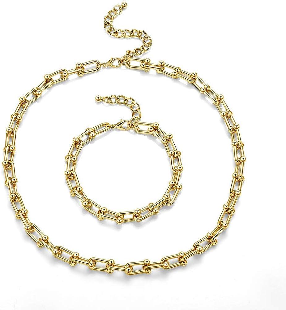 BOLOTORITY Paperclip Necklace Bracelet for Men Women Layer 14K Gold Link Chain Dainty Necklace Bracelet Jewelry Set for Girl Boy