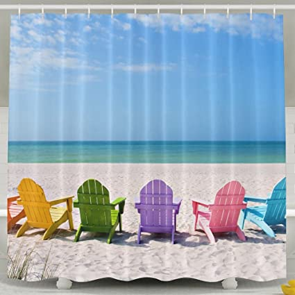 FaceTi Adirondack Chairs On A Sun Beach Home Polyester Shower Curtain Waterproof Bathroom Decor Sets With