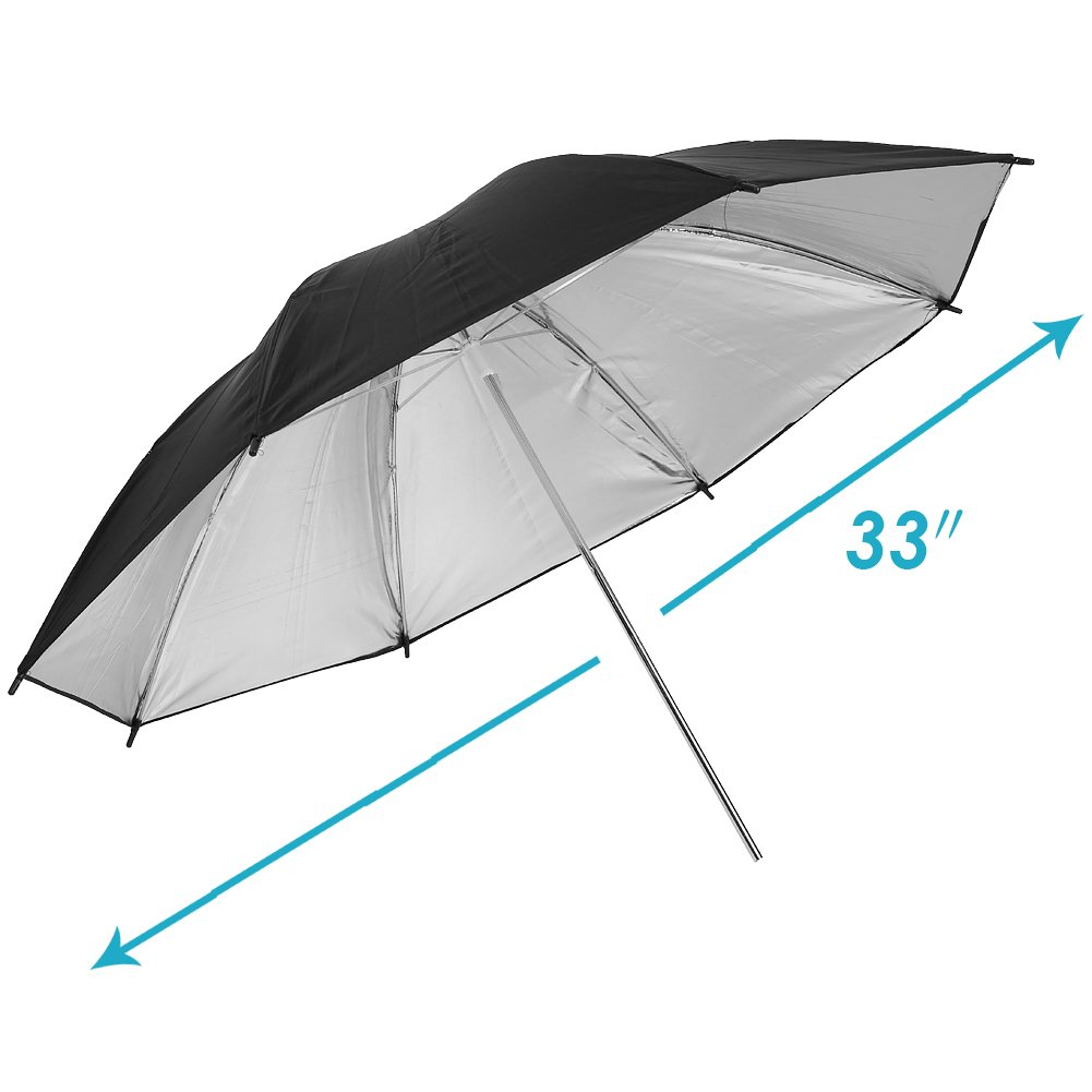 Neewer 2 PCS 33//84cm Professional Photography Studio Reflective Lighting Black//Silver Umbrella