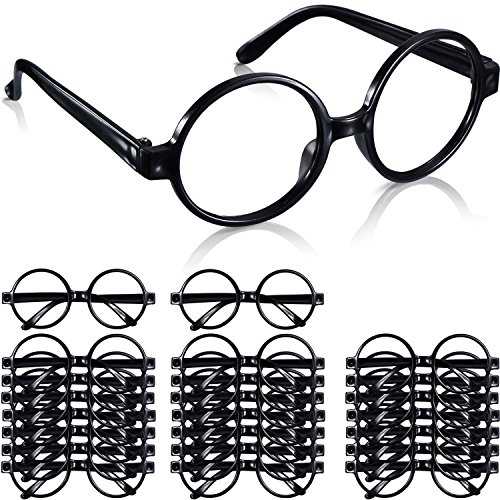 Shappy 24 Pack Wizard Glasses Plastic Black Round Glasses Frame for Costume Party -