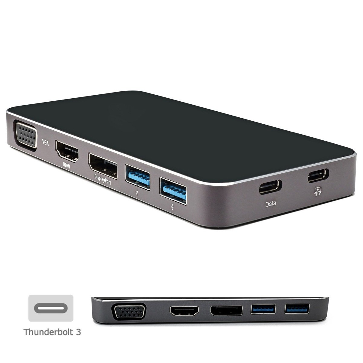 Cablecc Thunderbolt3 USB-C USB 3.1 to Displayport VGA HDMI USB HUB & Dual Type-C Female Power Adapter for Laptop by cablecc