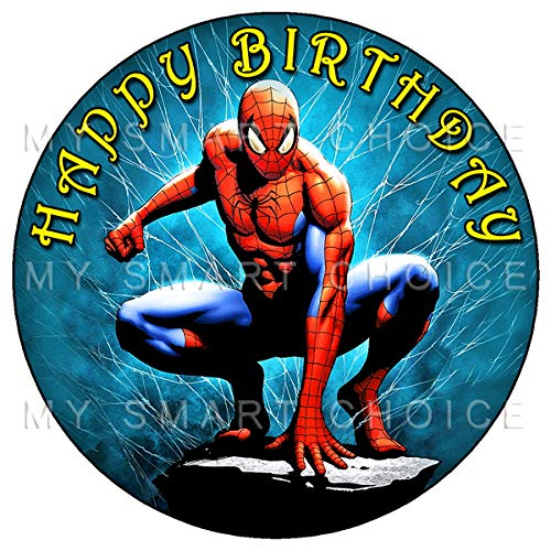 7.5 Inch Edible Cake Toppers – Spiderman Themed Birthday Party Collection of Edible Cake Decorations ()