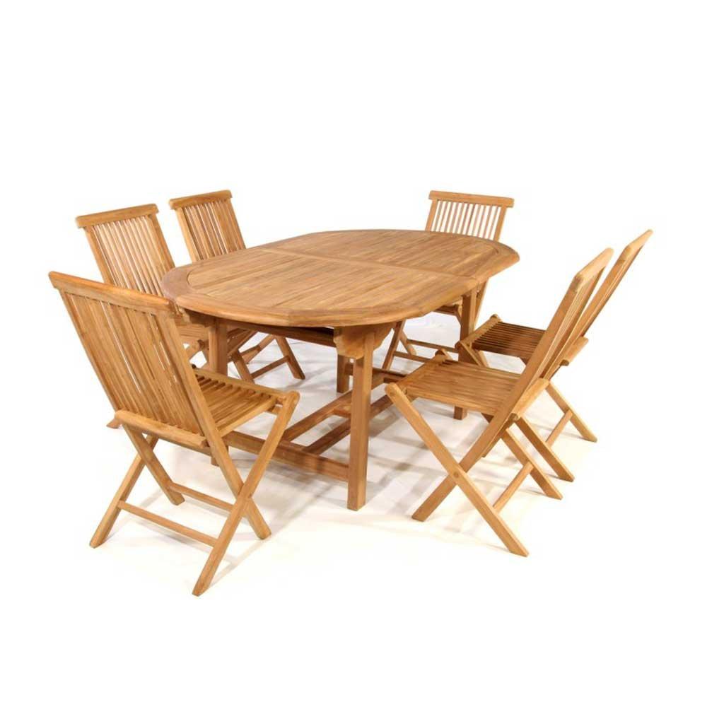 Tischgruppe in Teakfarben Garten (7-teilig) Pharao24