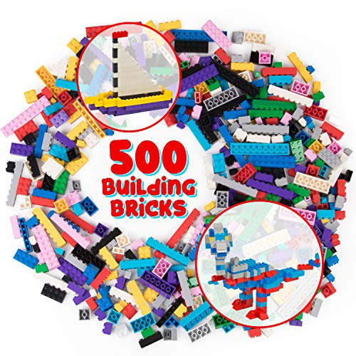SCS Direct 500 Piece Building Bricks Set for Kids - Toy Blocks Bulk Set Include 13 Different Shapes & 13 Colors - Compatible with All Major Brands for 100% Tight Fit