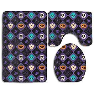 Creative Halloween Lattice Set Non-Slip Bathroom Mat Set Lid Toilet Cover Pedestal Rug.