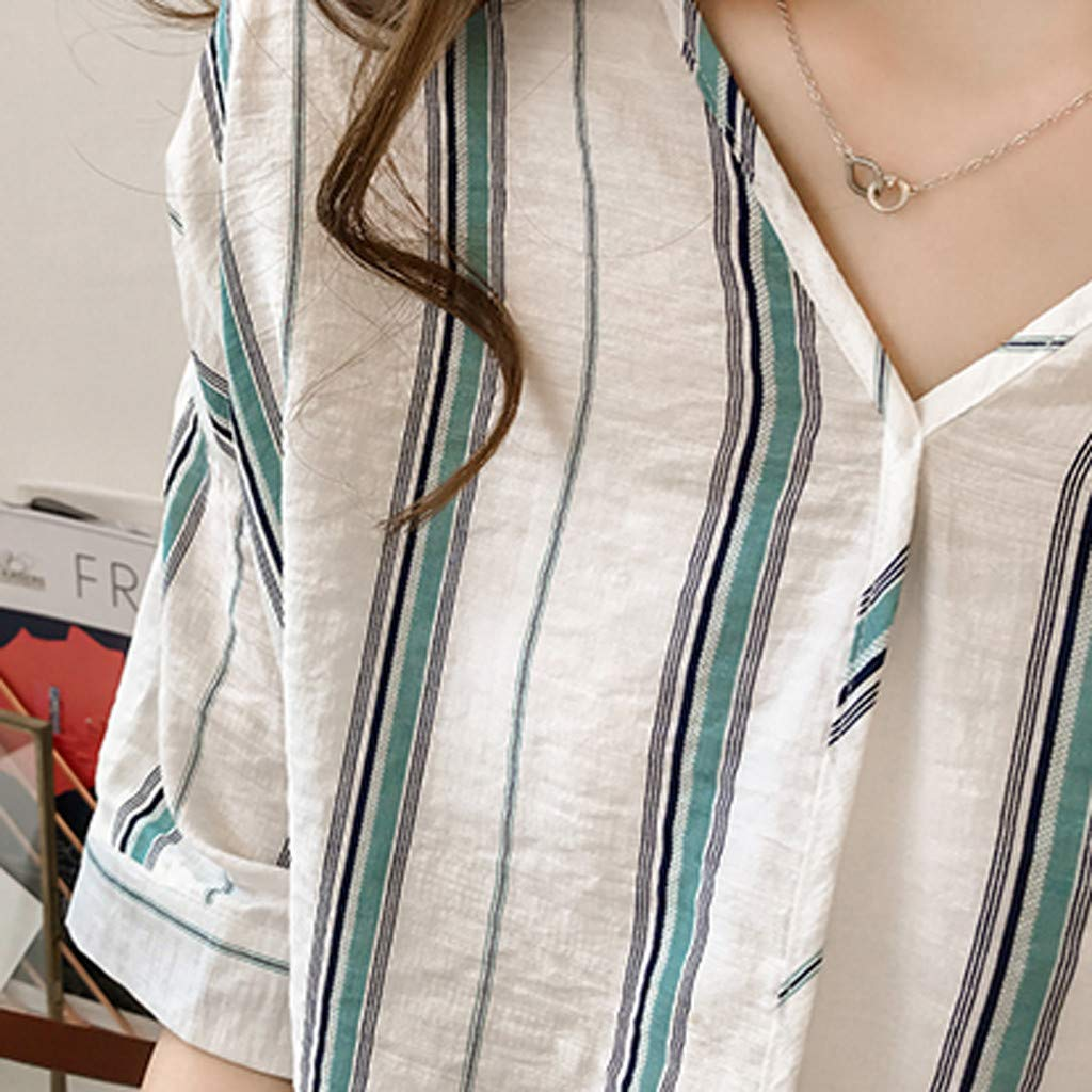 Nadition Women Cotton Linen V-Neck Striped Tunic Fashion Half-Sleeved Casual Loose Summer T-Shirt Blouse Top