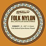 D\'Addario BEB045W Folk Nylon Guitar Single String, Bronze Wound, Ball End, .045