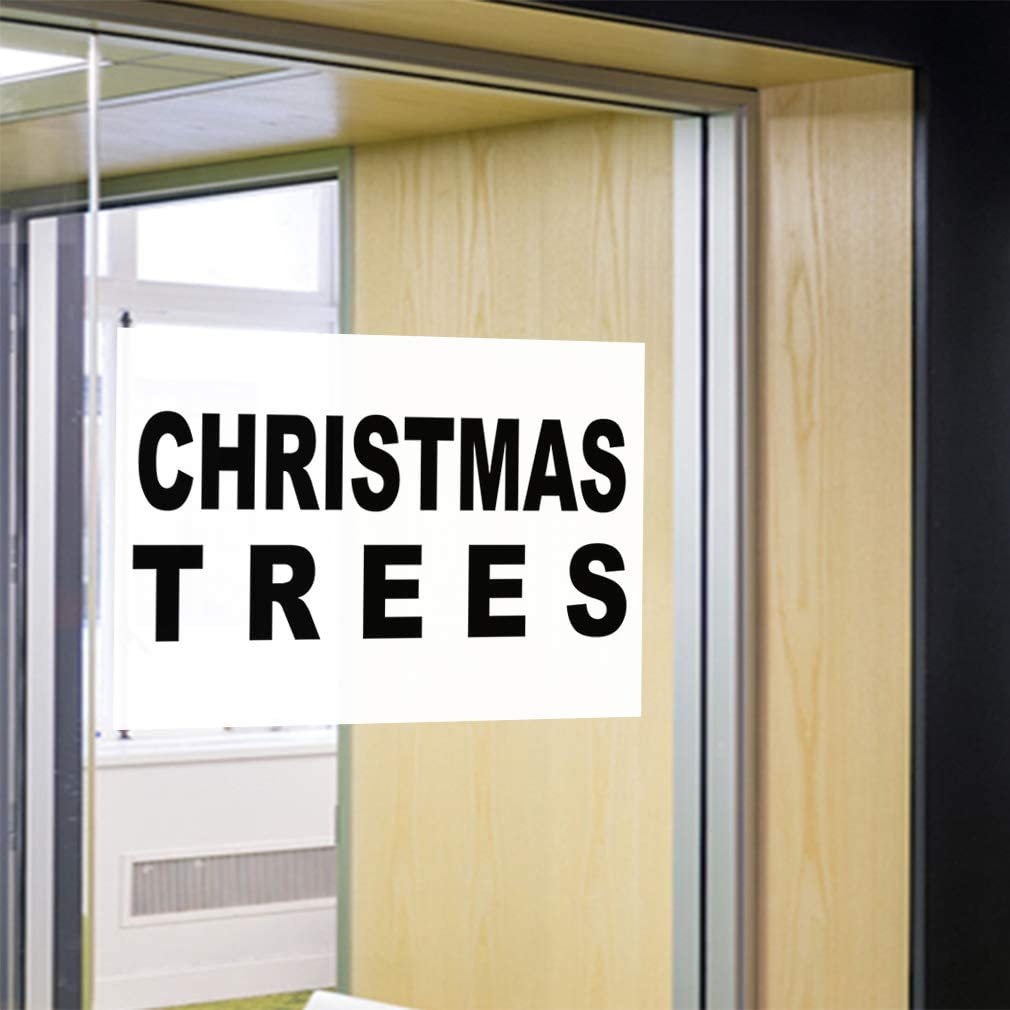 14inx10in Decal Sticker Multiple Sizes Christmas Trees Business Style A Holidays and Occasions Christmas Outdoor Store Sign Black Set of 10