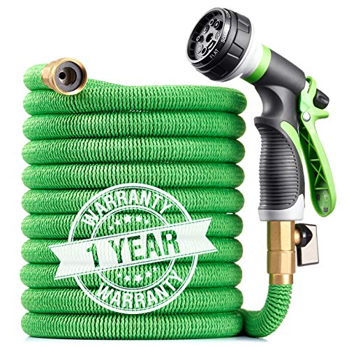 Linquo 100 ft Garden Hose - Upgraded Expandable Water Hose with 8 Pattern Spray Nozzle, 3/4 Solid Brass Connectors, Retractable Latex Core - New Flexible Expanding Hose