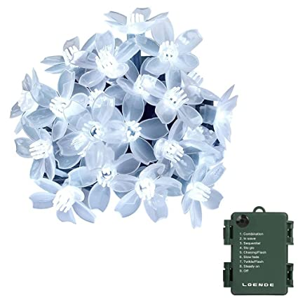 Amazon battery operated string lights loende 50 led battery operated string lights loende 50 led waterproof white flower string lights for valentines mightylinksfo Image collections